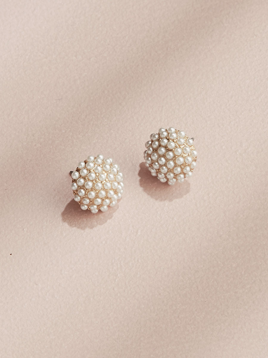 olive + piper Pearl Pave Stud Earrings
