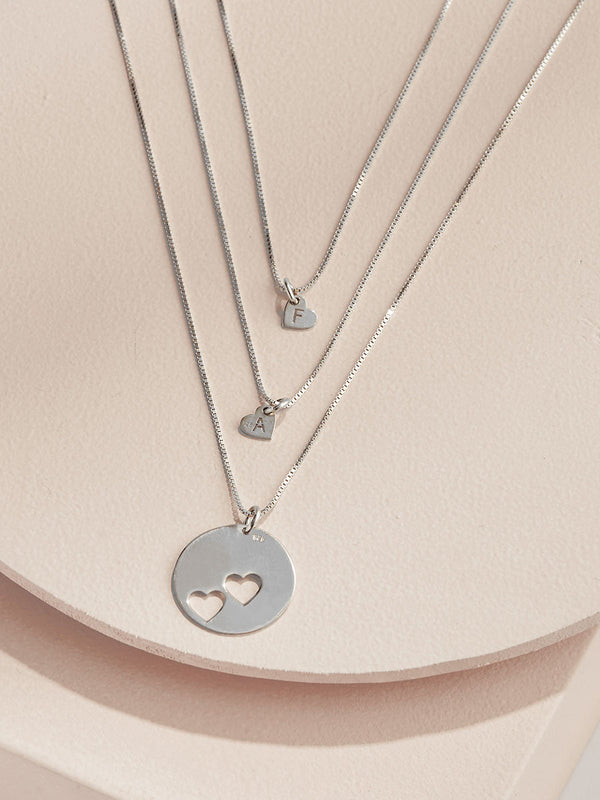olive + piper Piece Of My Heart Necklace Set - Silver