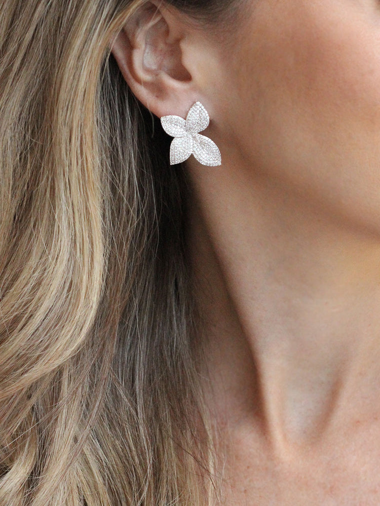 Floral Stud Earrings - Cubic Zirconia fashion jewelry