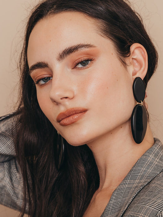 olive + piper Dunbar Statement Drop Earrings - Black