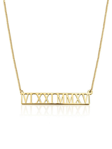 olive + piper Personalized Cut Out Roman Numeral Bar Necklace - 24K gold plated