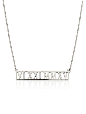 olive + piper Personalized Cut Out Roman Numeral Bar Necklace - Sterling Silver