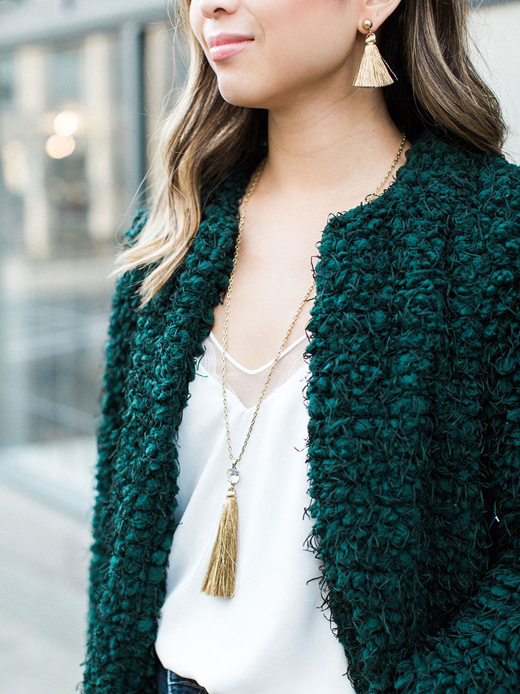 olive + piper Shimmer Tassel Necklaces