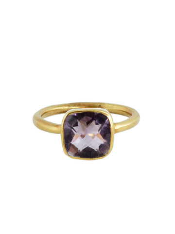 olive + piper Skyler Cushion Gemstone Ring - Amethyst