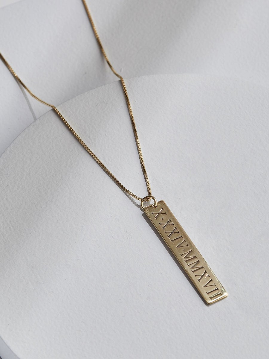 olive + piper Vertical Roman Numeral Bar Necklace
