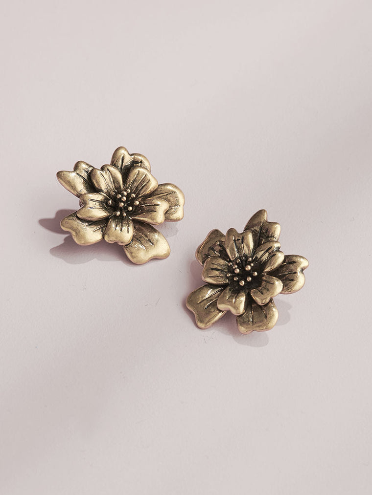 Vintage Floral Clip Earrings
