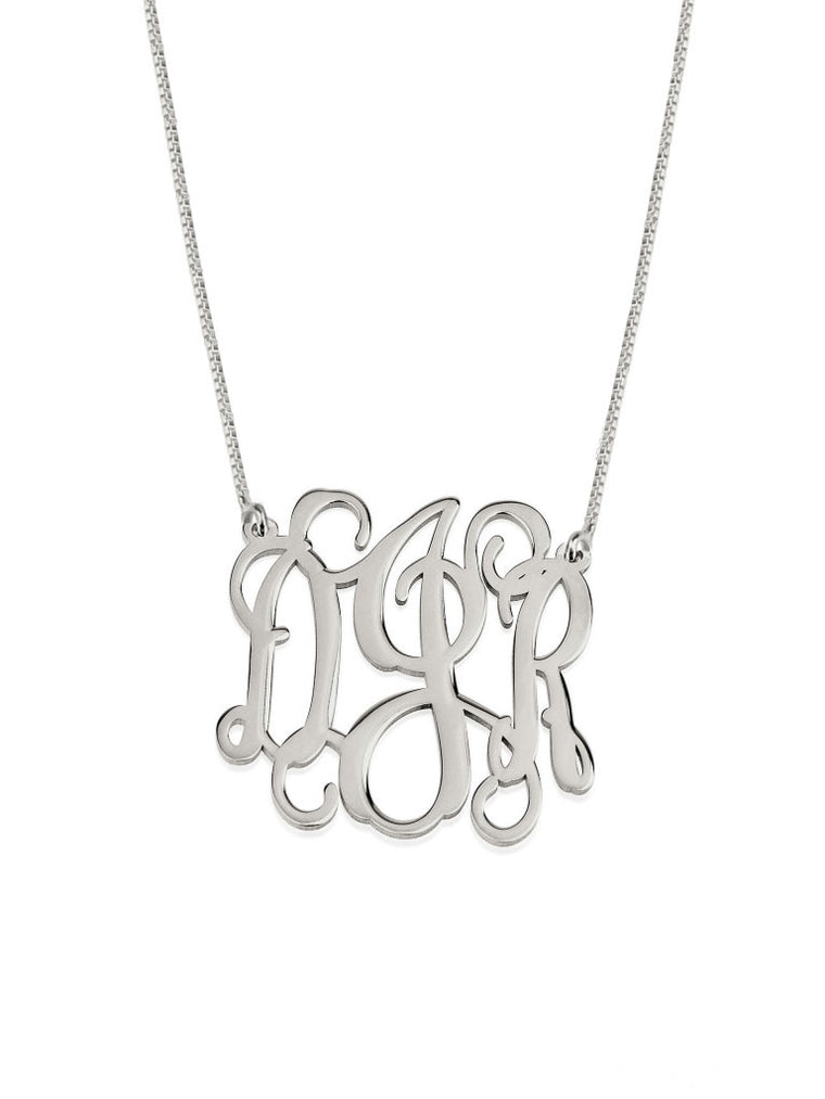 Curly Initial Monogram Necklace