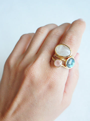 olive + piper Dawn-to-Dusk Semi-Precious Stacking Rings