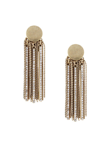 olive + piper Gold Fringe Statement Drop Earrings