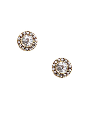 olive + piper Pave Crystal Halo Stud Earrings