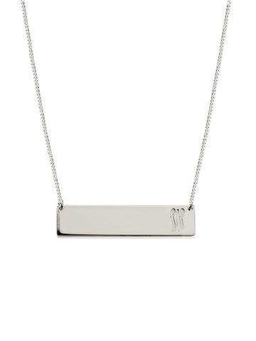 olive + piper Customized Horizontal Bar Necklace - Silver