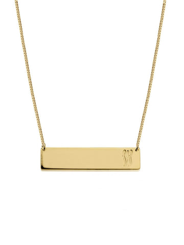 olive + piper Customized Horizontal Bar Necklace - Gold
