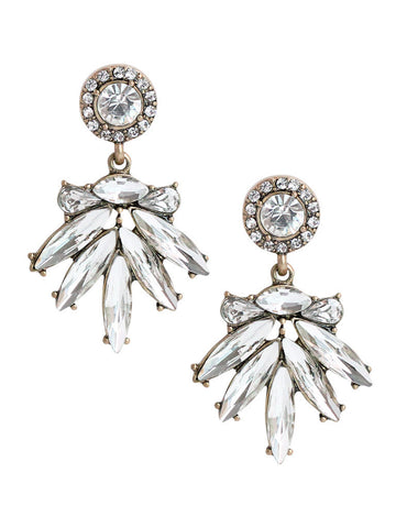 olive + piper Isabel Crystal Fan Drop Earrings