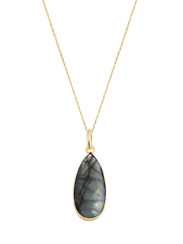 olive + piper Genuine Labradorite Drop Pendant Necklace