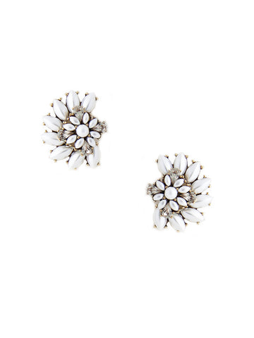 olive + piper Luxe Cluster Stud Statement Earrings - Pearl