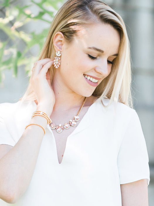 olive + piper Blush Peony Statement Drop Earrings