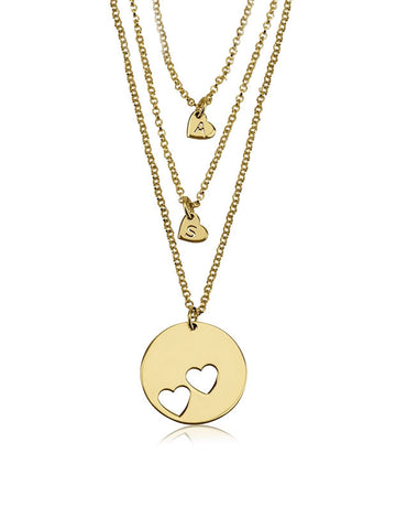olive + piper Piece Of My Heart Necklace Set - Gold