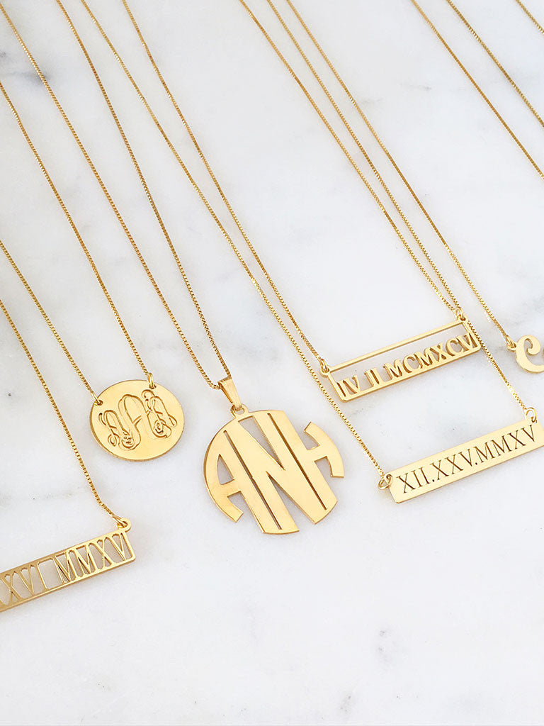 Personalized Custom Cut Out Roman Numeral Bar Necklace
