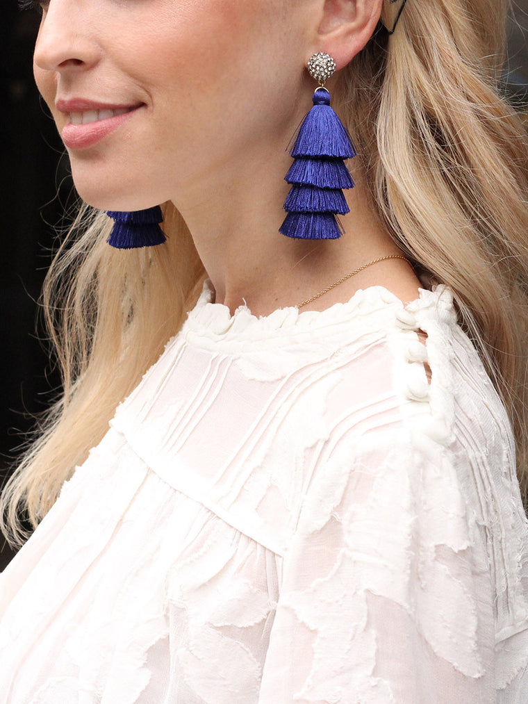 olive + piper Savannah Tassel Earrings - White