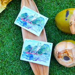 Eco-printed voyaging canoe greeting cards