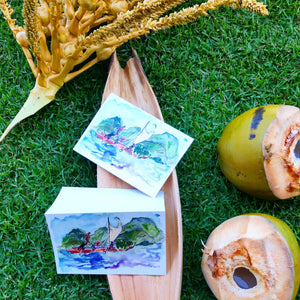 Eco-printed voyaging canoe greeting cards - Voyaging Foods