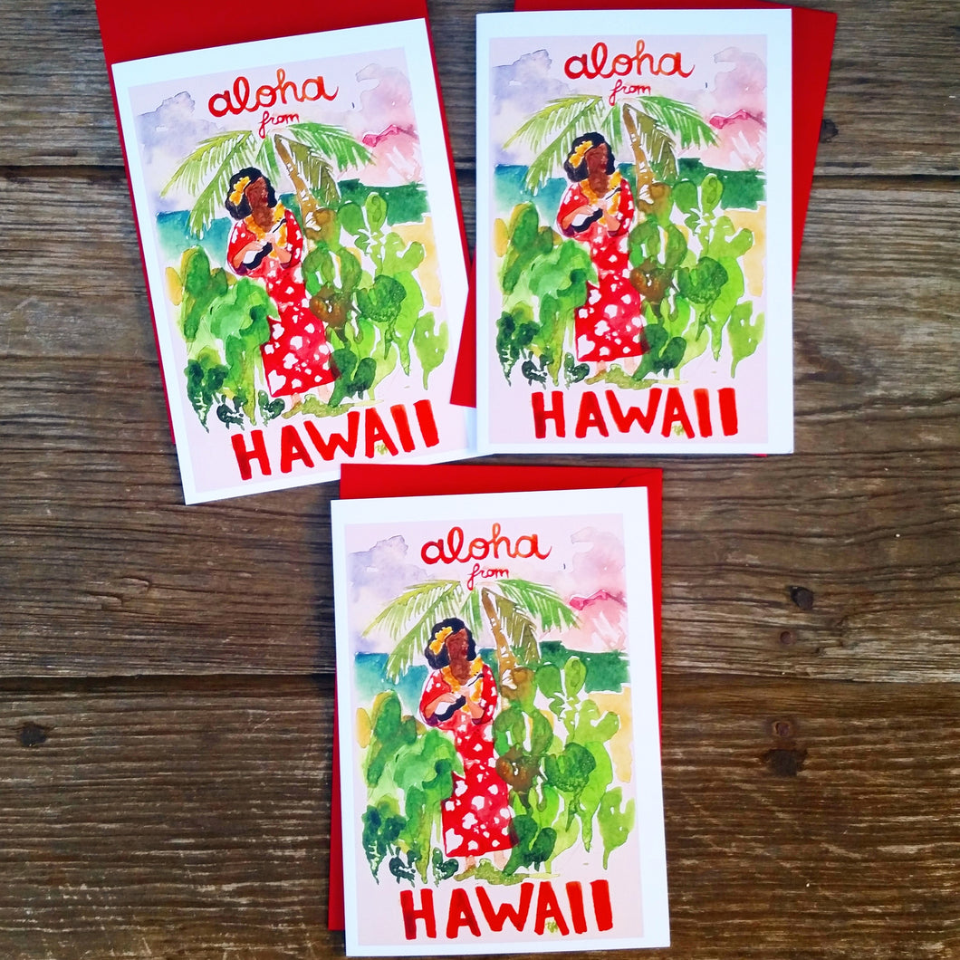 Aloha From Hawaii vintage feel greeting card - Voyaging Foods