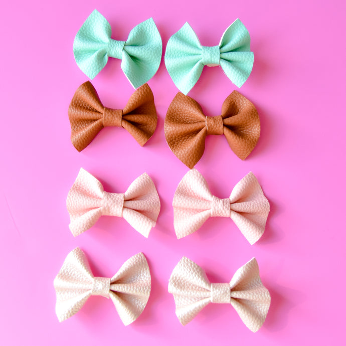 Hair Bows , Bows , Faux Leather , Baby Girl Bows ,Hair Accessories