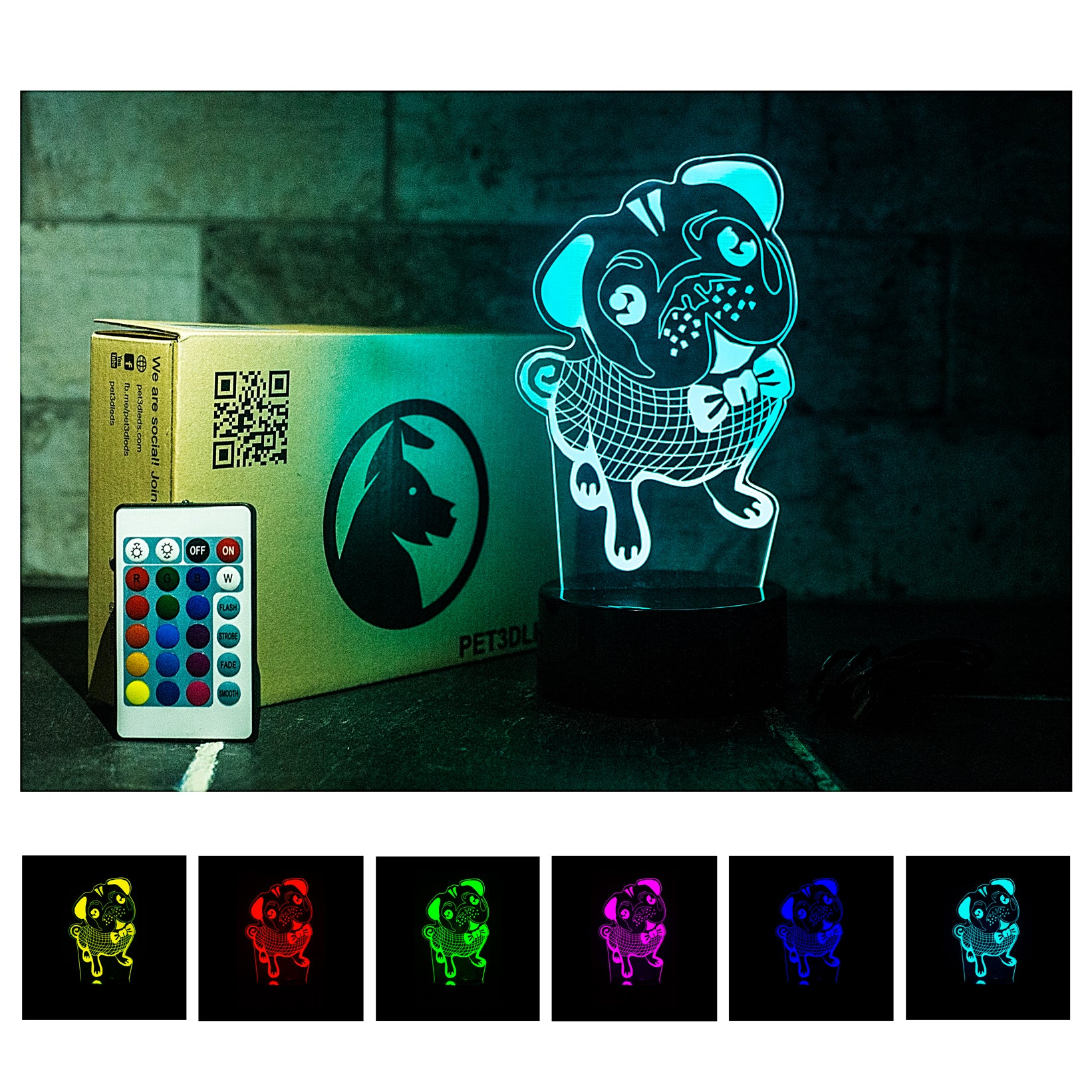 pug gift 8 color lights