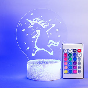 Unicorn 3D Illusion Decorative Nightlight with Remote Control