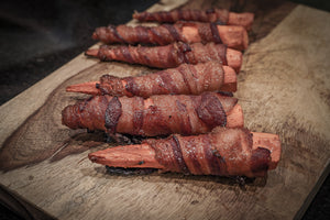 Brown Sugar Bacon-Wrapped Smoked Carrots