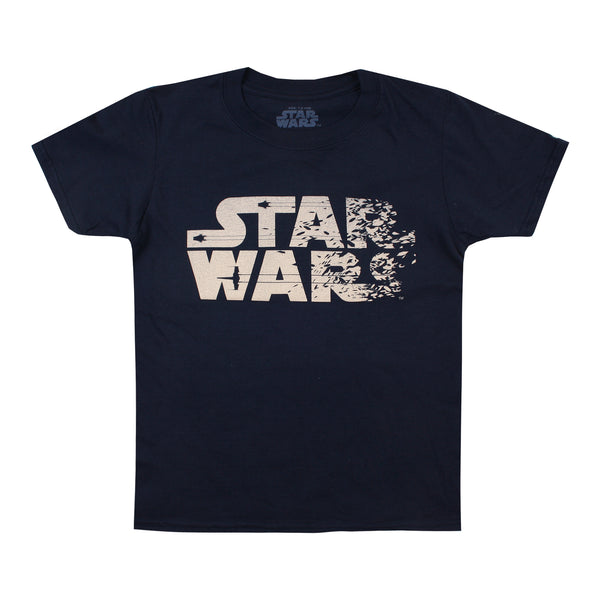 Star Wars Boys - Rebel Text - T-Shirt - Navy