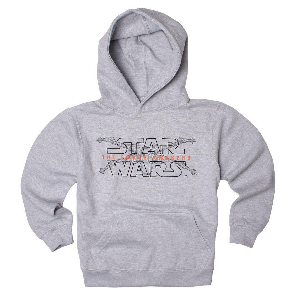 Star Wars Boys - X-Wing Logo - Pullover Hood - Heather Grey - CLEARANCE