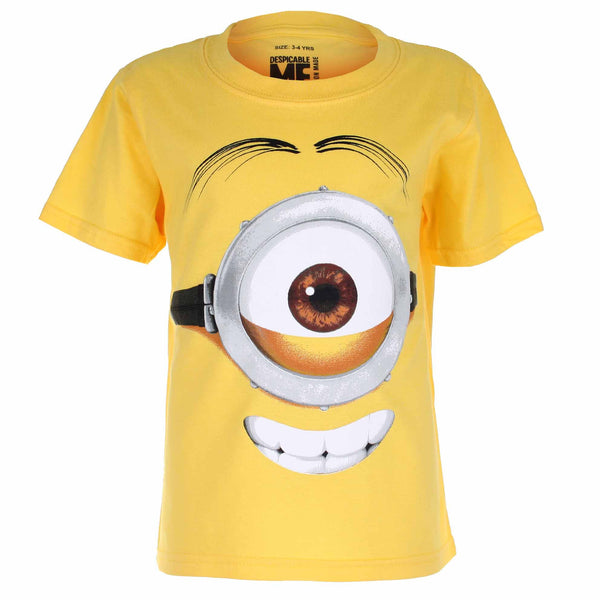 Minions Kids - Stuart Face - T-Shirt - Yellow - CLEARANCE
