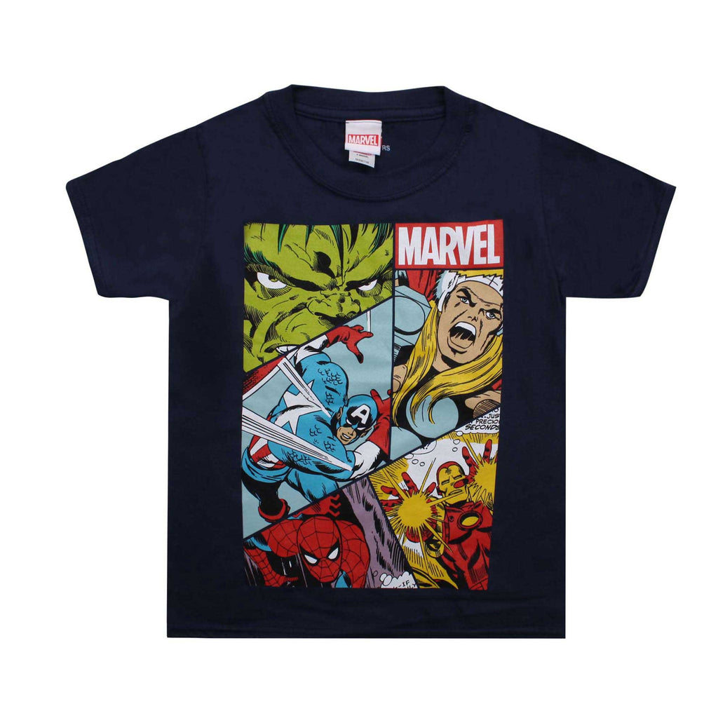Marvel Boys Heroes Grid T-Shirt - Navy