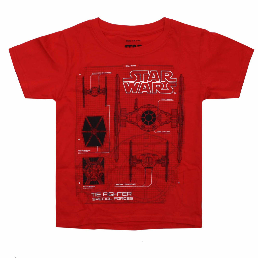 Star Wars Kids - Tie Fighter Schematics - T-Shirt - Red - CLEARANCE