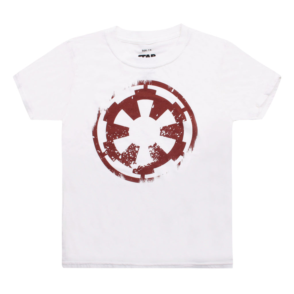 Star Wars Boys - Distressed Empire Logo - T-Shirt - White - CLEARANCE