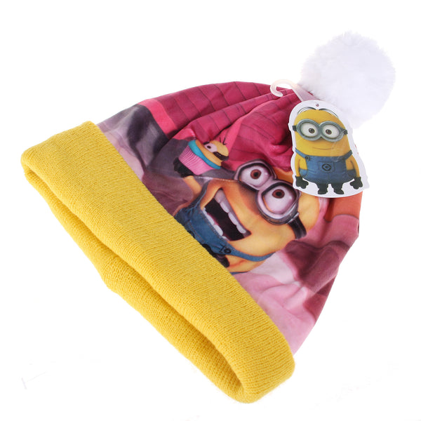 Official Minions Girls - Cupcake Print - Pom Pom Beanie - Yellow - CLEARANCE