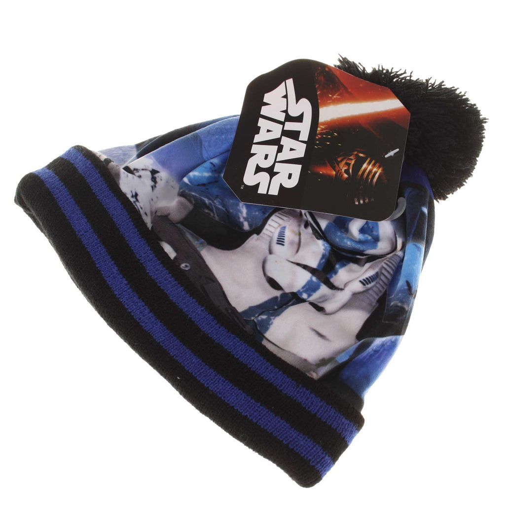 Star Wars Kids Trooper Stripe Pom Pom Beanie - Black