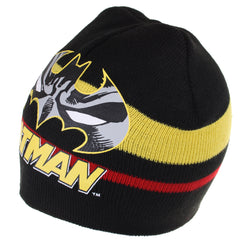DC Comic Boys Batman Stripe Beanie Hat - Black
