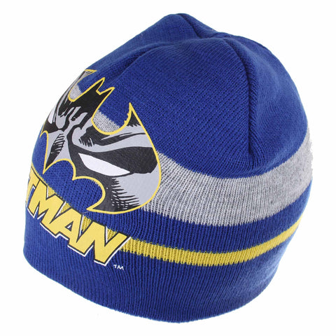 DC Comic Boys Batman Stripe Beanie Hat - Blue