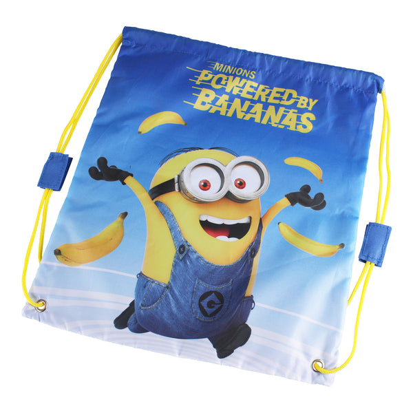 Minions Kids - Powered By Bananas - Gym Sack  - Blue/ Yellow - One Size - CLEARANCE