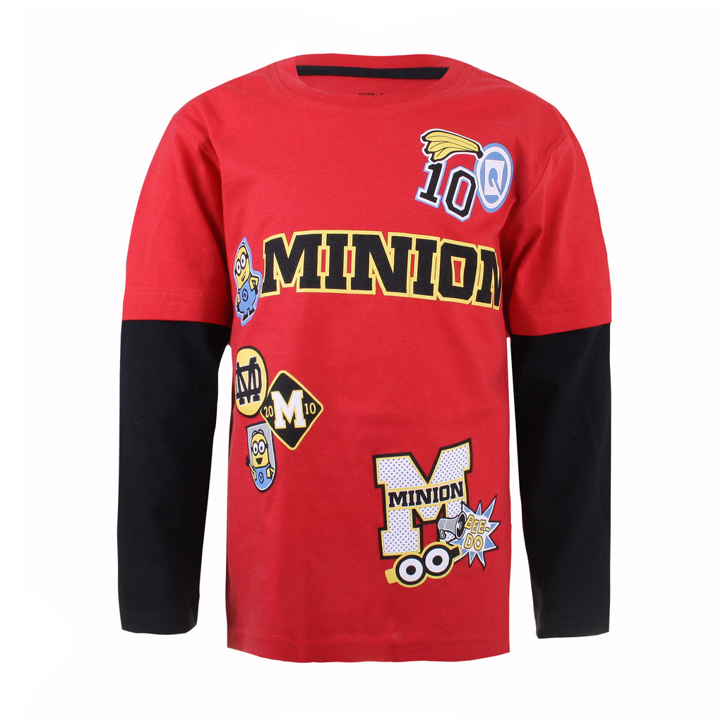 Minions Boys - Patches - Long Sleeve T-shirt - Red - CLEARANCE