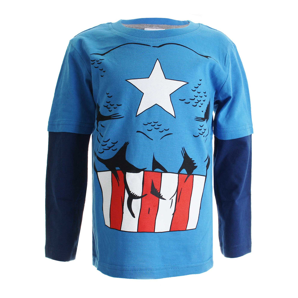 Marvel Boys Captain America Costume Long Sleeve T-Shirt - Turquoise/Navy