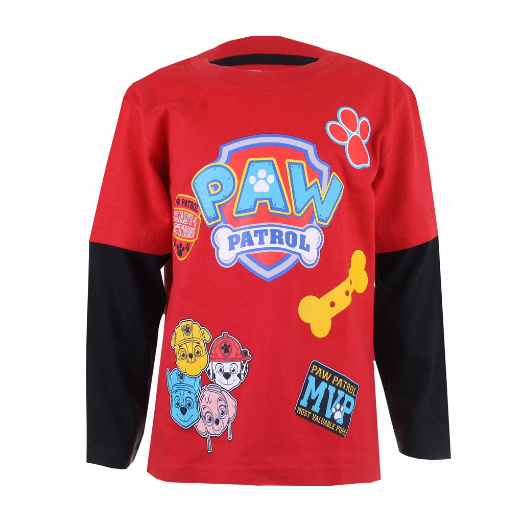 Paw Patrol Kids - Patch - Long Sleeve T-Shirt - Red/Black - CLEARANCE