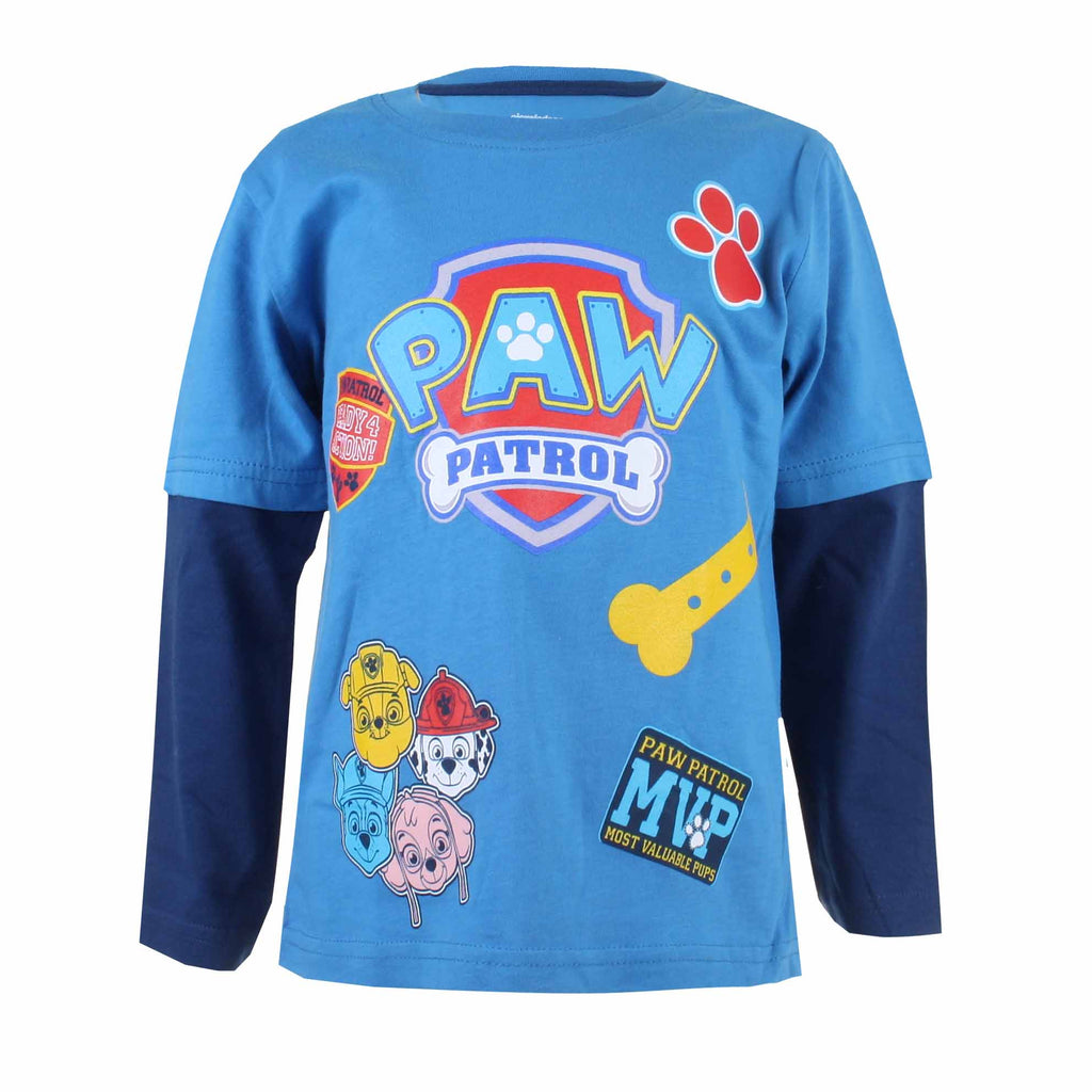 Paw Patrol Kids - Patch - Long Sleeve T-Shirt - Turquoise/Navy - CLEARANCE