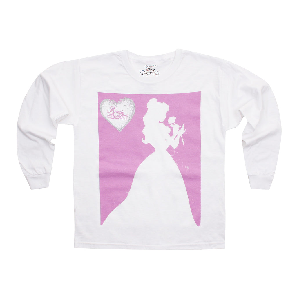 Disney Girls - Beauty And The Beast - Belle Silhouette - Long Sleeve T-shirt - White - CLEARANCE