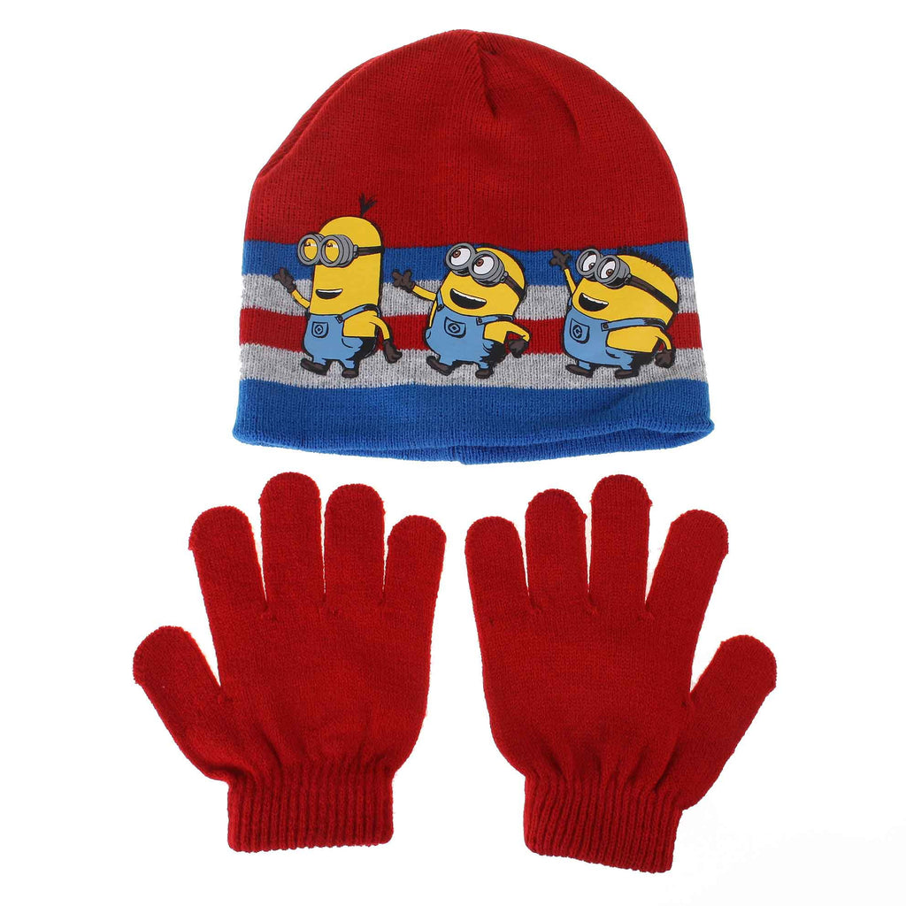 Minions Boys Wave Line Hat/Glove Set - Red