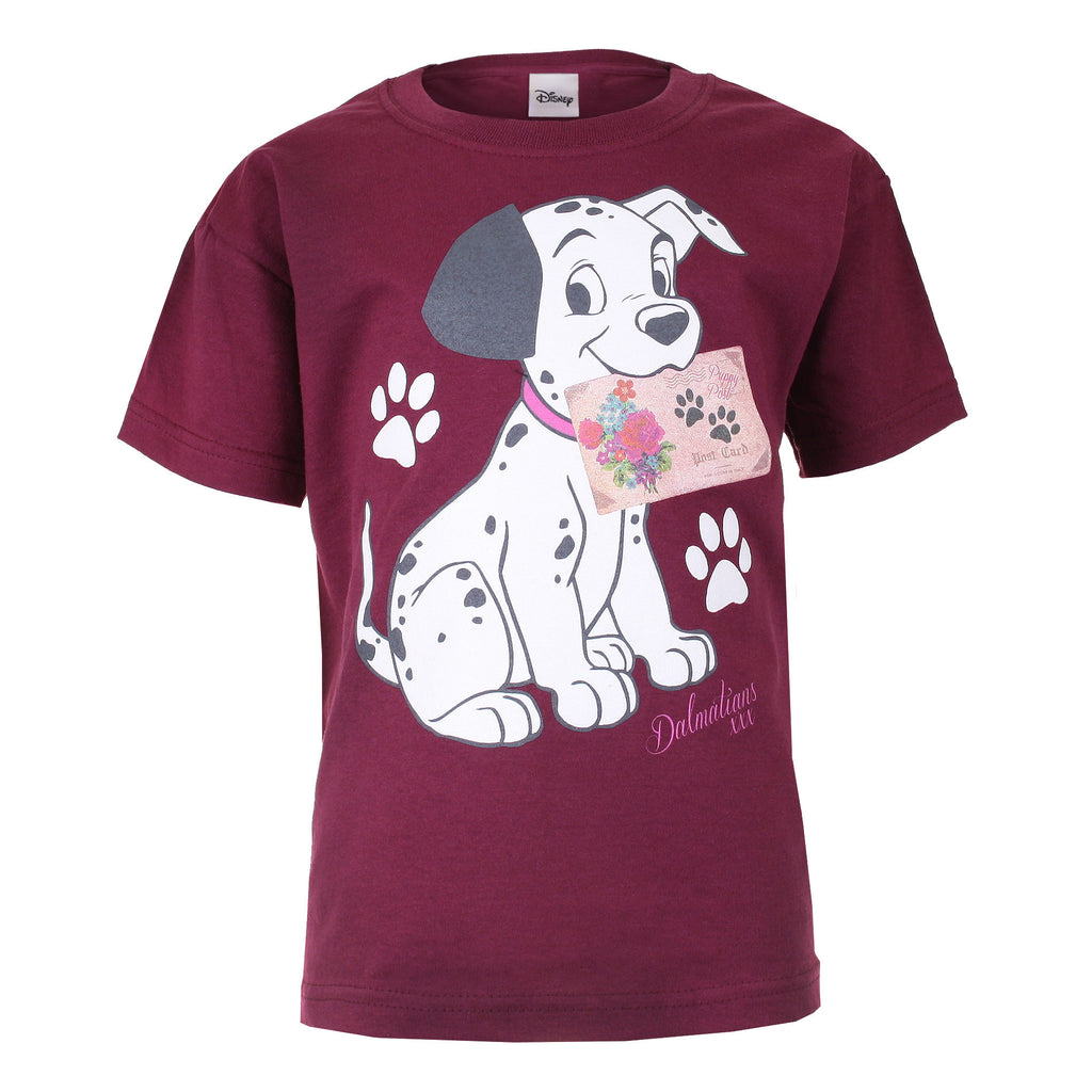 Disney Kids - Dalmatians Puppy Post  - T-Shirt - Burgundy - CLEARANCE
