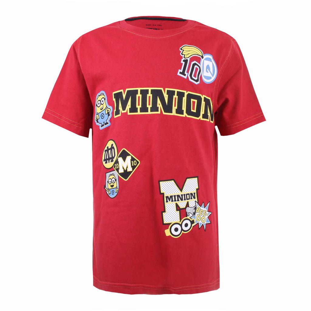 Minions Boys Patches T-Shirt - Red
