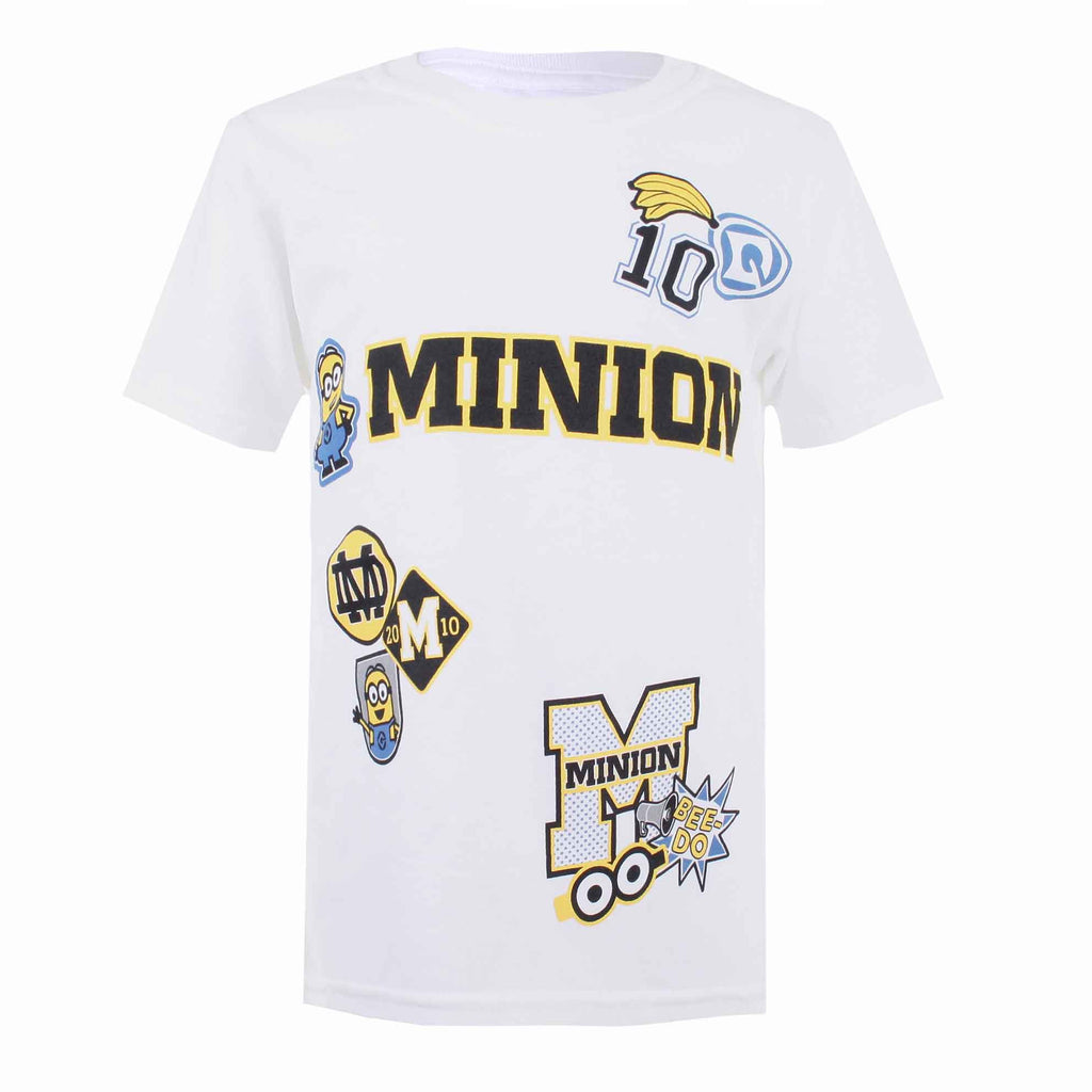 Minions Boys Patches T-Shirt - White